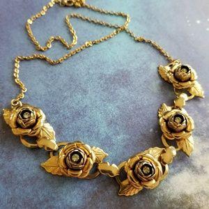 Vintage golden rose necklace rhinestone gold tone